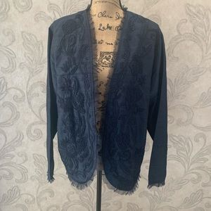 Chico's Top Open Front Silk Blue Embroidered 3 XL